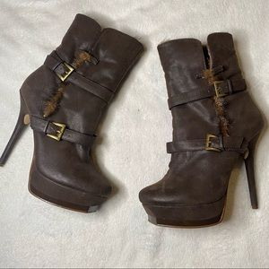 Promise Brown Buckle Faux Fur Heel Boots 7.5